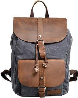 Neuleben Vintage Wasserdicht Rucksack Daypack aus Canvas Leder Damen Herren für Reise Outdoor Schule Grau