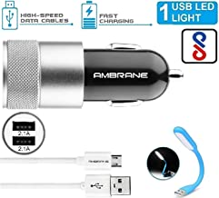 Ambrane ACC-74 2.4Amp Dual USB to Micro USB Turbo Fast Car Charger with Charge & Sync Cable + USB Led Light (ACC74+LED)