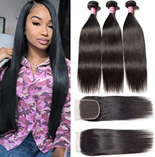 Ali Julia Hair 10A Peruvian Straight Virgin Hair Weave 3 Bundles with Lace Closure 4X4 Free Part 100% Unprocessed Remy Human Hair Extensions Natural Color(18 20 22+16Closure)