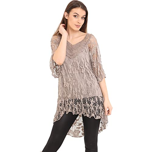 c1f917a51a AHR Zaif   Hari Ladies Italian Lagenlook Knitted Crochet Lace Mesh Quirky  Loose High Low Layering