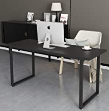 Tayene Computer Desk Study Writing Table for Home Office, Industrial Style PC Desk, Black Metal Frame (55'', Black)