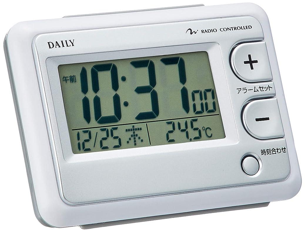 乳製品ヒゲ無駄な目覚まし時計 電波時計 温度計付き ジャストウェーブR095DN 白 DAILY 8RZ095DN03