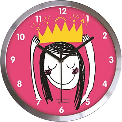 laroom 12305–Wall Clock Princess of Satin Stainless Steel, Pink