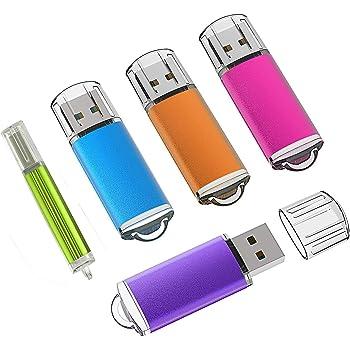 KEXIN 2GB Memoria USB 2.0, 5 Piezas Pendrive 2GB Flash USB 2.0 para Computadoras, Tabletas y Otros Dispositivos [5 Unidades, Color de Naranja, Rojo, Verde, Azul, Púrpura]: Amazon.es: Informática