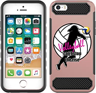 [NickyPrints] Rose Gold Hybrid Case for iPhone 5 / 5S / SE - Volleyball Girl Design Printed with Embossed Effect - Unique Dual Layer Full Protection Shockproof Case/Cover