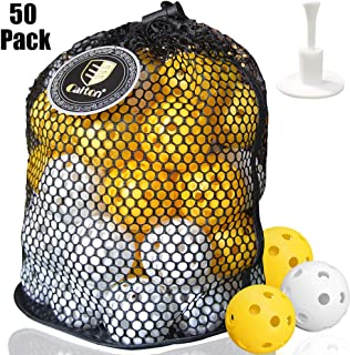 CAITON Plastic Golf Balls, Practice Golf Balls Wiffle Perforated Training Golf Balls for Home Putting Practice Backyards Swing Practice, Driving Range, 50 Pack with Adjustable Rubber Tee