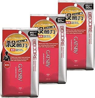 ギャツビー(GATSBY) バイオコアデオドラント ボディペーパー 無香性 30枚×3パック メンズ 制汗 ボディシート EC限定品