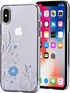 iPhone X Case with SWAROVSKI Crystals | Premium PC Material, Shock Resistance, Slim & Transparent | Wireless Charger Compatible | Ideal for Women, Girls | Crystal Petunia Cover | 5.8 inch (Silver)