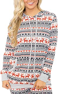 Women's Christmas Snowflakes Hoodie Top with Kangaroo Pocket