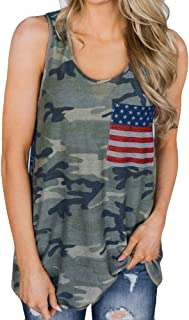 4th of July Shirts for Women Patriotic Camouflage Tank Tops Sleeveless V Neck American Flag Casual Sports T Shirt