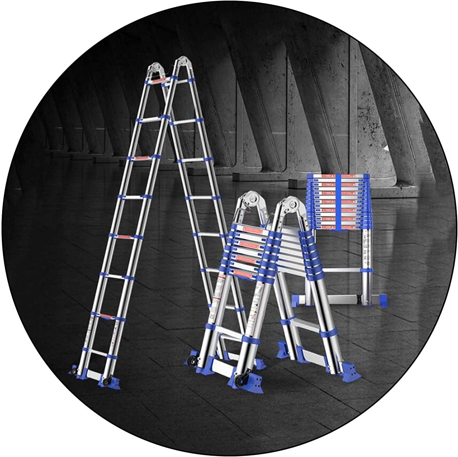 HBSC Multi-Purpose Fashion Telescopic Long Beach Mall Ladder Portable Fol Alloy Aluminum