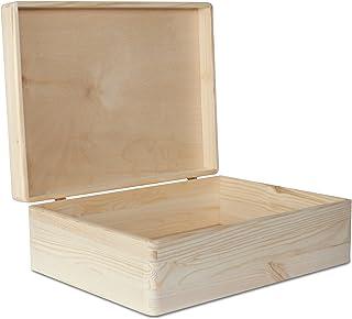 Creative Deco XL Boîte de Rangement en Bois Grande | 40 x 30 x 14 cm (+/- 1 cm) | Non Peinte | Caisse Coffre à Décorer ave...