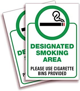 Designated Smoking Area Signs Stickers - 2 Pack 7x10 in - Premium Self-Adhesive Vinyl, Laminated for Ultimate UV, Weather,...