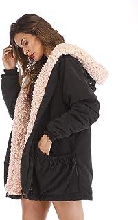 Aofur Womens Casual Fleece Jacket Hooded Thick Warm Winter Coat Trench Parka Zipper Fur Lining