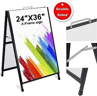 AkTop Heavy Duty A-Frame Sidewalks Signs 24 x 36 Inch, Portable Double-Sided Sandwich Board, Slide-in Folding Outdoor Metal Signboard with 2 Corrugated Plastic Poster Boards
