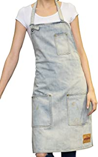 VANTOO Unisex Distressed Jean Apron with Convenient Pockets for Men and Women,White