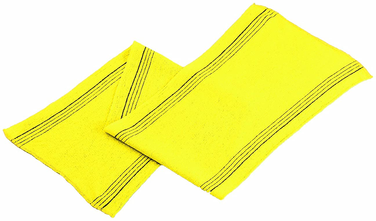 狐メタルライン細胞韓国 アカスリ タオル テミリ 28×88cm 黄色