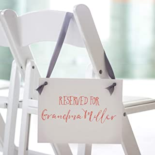 Reserved For Custom Name Sign Wedding Ceremony Banner | Personalized Seat Reserve Signage | Reserved for Banner | Wedding Reception Chair Aisle Family Pew