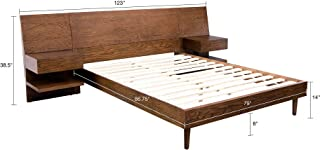 INK+IVY IIF19-0031 Clark Frame with Headboard and 2 Built-in Attached Nightstands with Hidden Drawers Platform beds with Wood Slat Support, King, Pecan