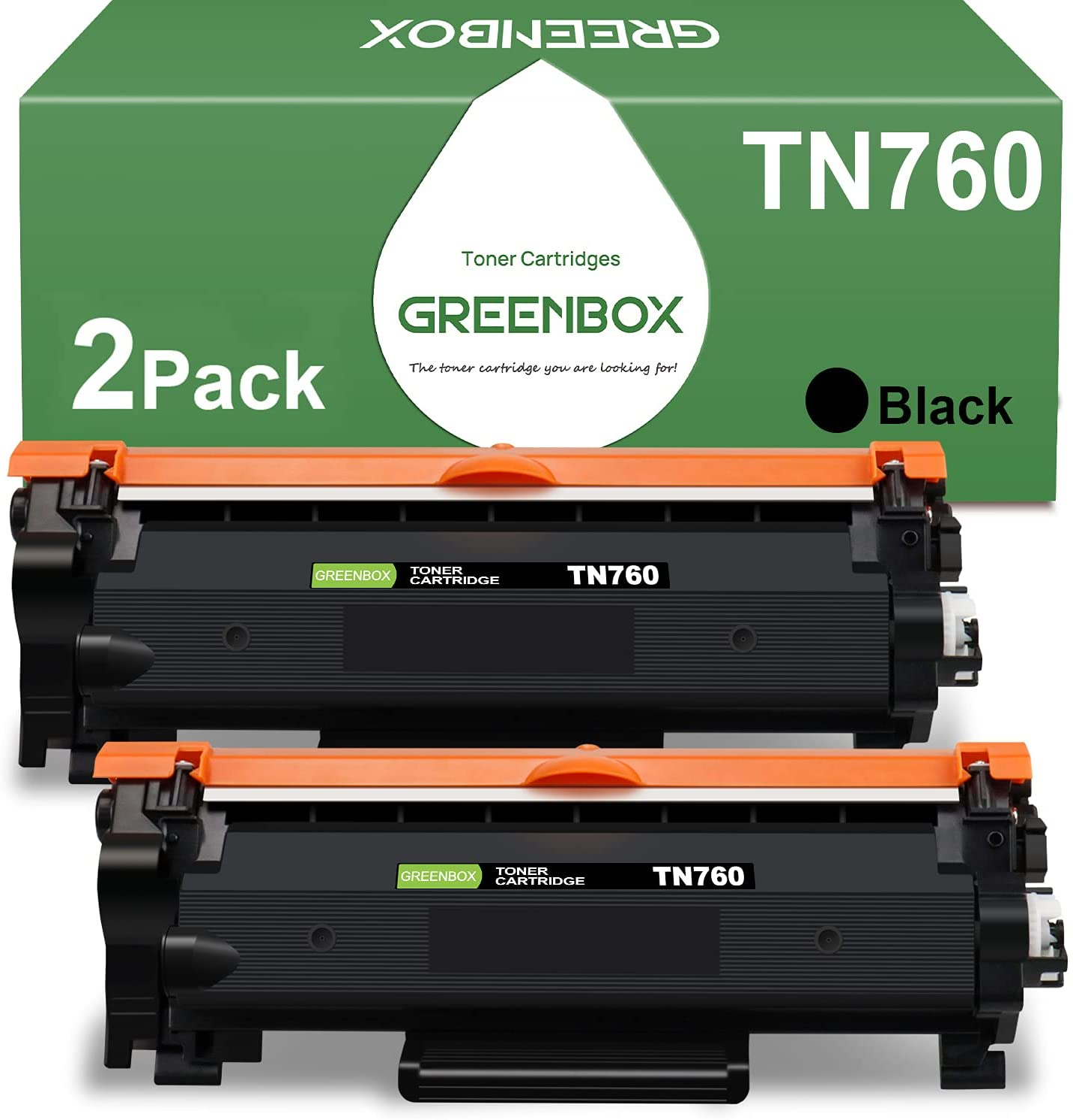 GREENBOX Compatible Toner Cartridge Replacement for Brother TN760 TN-760 TN730 TN-730 for HL-L2350DW DCP-L2550DW HL-L2395DW HL-L2390DW HL-L2370DW Printer (2 Black)