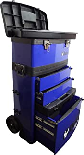 BETA TOOLS MOBILE TOOL TROLLEY WITH 3 SLIDE-OUT DRAWERS AND REMOVABLE TOP BOX WITH CARRY HANDLE - BLUE