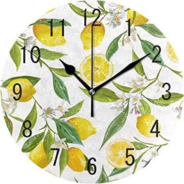ALAZA Home Decor Vintage Floral Lemon Fruit Round Acrylic 9.5 Inch Wall Clock Non Ticking Silent Clock Art for Living Room Ki