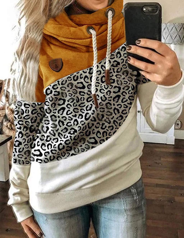 LOOVEE Kapuzenpullover Damen, Frauen Pullover mit Kapuze Patchwork Leopard Tarnung Rollkragen Herbst Winter Damen Langarm Pulli Hoodie Sweatshirt Winterjacke Mantel Leopard/Gelb
