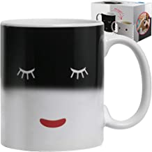 Unique Color Changing Funny Mug - Magic Coffee & Tea Cool Heat Changing Sensitive Cup 12 oz White Cute Face Design Drinkware Ceramic Mugs Morning Birthday Christmas Gift Idea for Mom Dad Women & Men