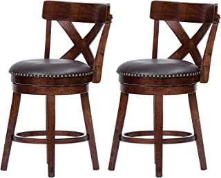 Furgle Set of 2 Swivel Bar Stool 24-inch Solid Wood Upholstered Counter Height Bar Stool PVC Leather Cushioned Seat w/Brass Nailhead Studs for Kitchen Island, Counter, Pub or Bar - Espresso