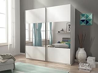 Armario Mia con dos puertas correderas, color mate y espejos (150 cm)