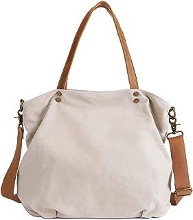Neuleben Schultertasche Damen Umhängetasche Canvas Tasche Shopper Frauen Handtasche Segeltuch Henkeltasche mit Reißverschluss für Arbeit Einkauf Büro Schule Reise Beige