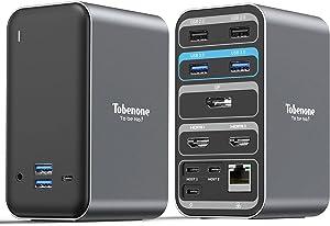 Laptop Docking Station Dual Monitor for MacBook Pro/Air/USB C Windows Laptops, 4K Universal Docking Station 13 Ports Laptop Dock for USB C Laptop (2 4KHDMI DP 100W PD3.0 RJ45 6USB USB-C Audio)