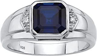 Men's Platinum Over Sterling Silver Square Cut Created...