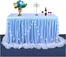 9ft Blue LED Long Tulle Table Skirt Ruffle Tutu Tablecloth Dinner Party Decoration Rectangle or Round Table