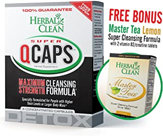 Fast Detox (1) Super QCaps 4 ct. & (1) Master Tea W/Creatine Tablets by Herbal Clean Quick Detox with Master Tea to Get Absolutely Clean Today - Detoxify with Herbal All Natural Ingredients