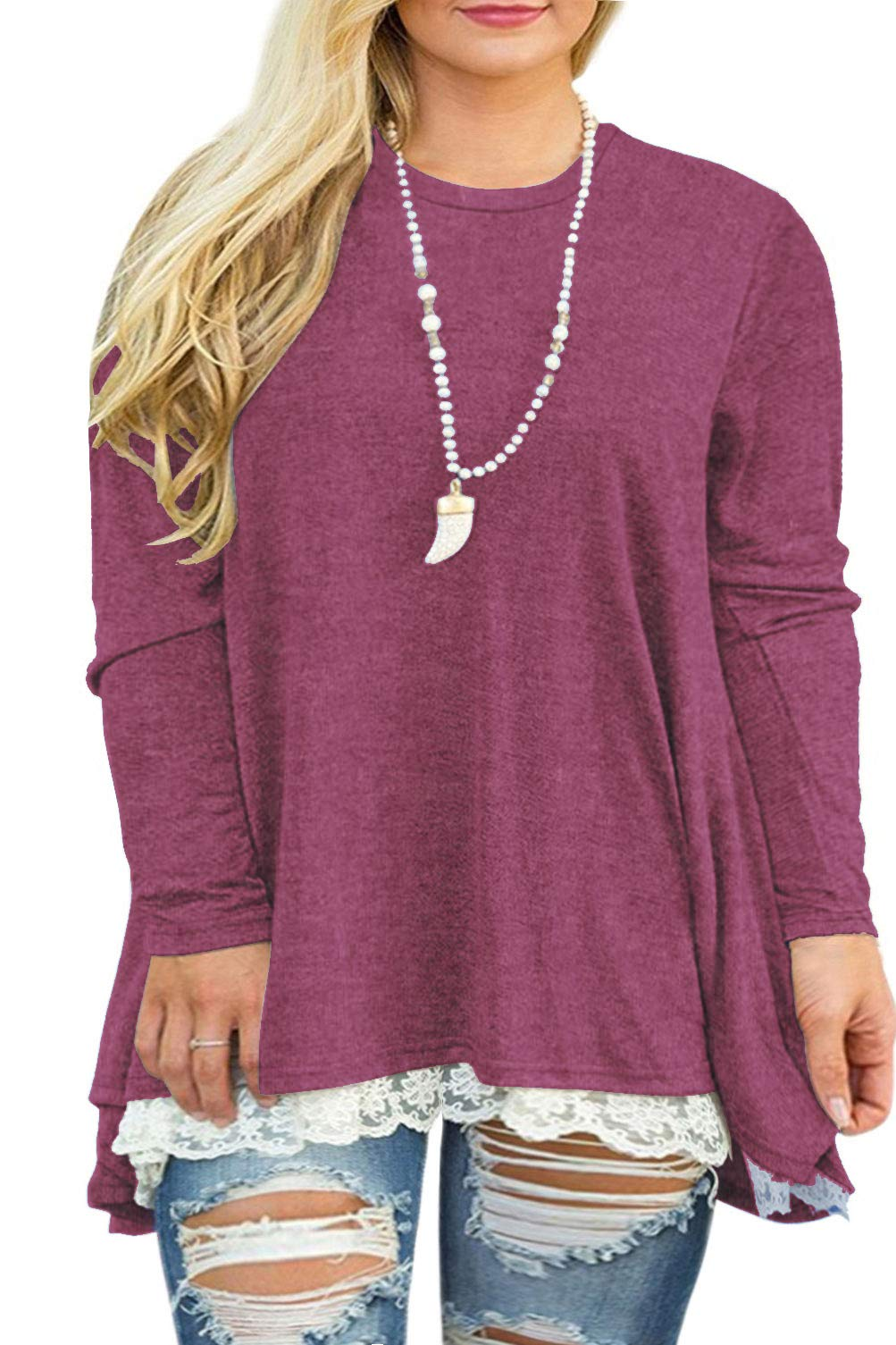 Plus Size Clothing - Womens Plus Size Tunic Tops Casual Lace Long Sleeve A-Line Blouse Shirt