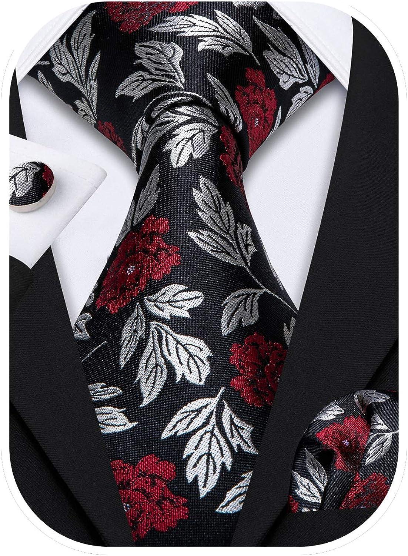 Barry.Wang Flower Ties for Men Handkerchief Cufflinks Set Wedding Necktie Set