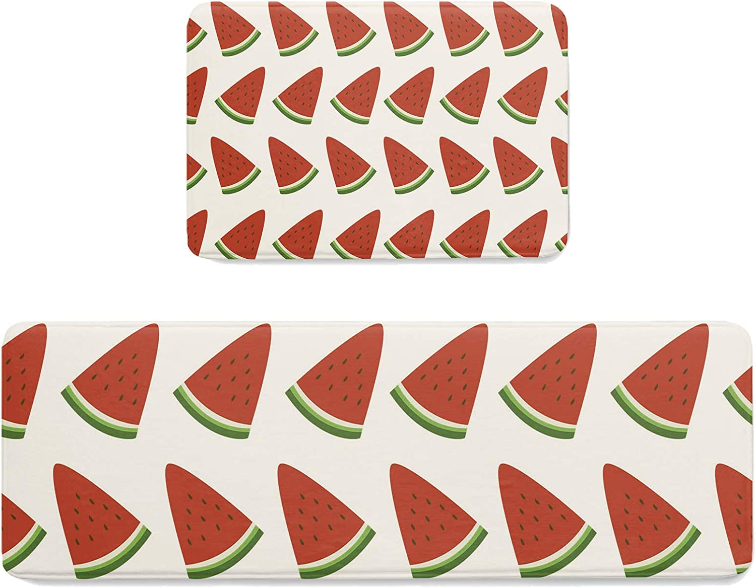 LALADecor 2 Piece Kitchen Popular popular Department store Rugs and Watermelon Summer Mats Time T