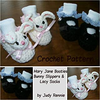 Crochet Pattern - Mary Janes, Bunny Slippers, Lacy Sock Trim