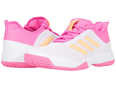 adidas Kids Adizero Club Tennis (Little Kid/Big Kid) (White/Acid Orange/Screaming Pink) Kids Shoes