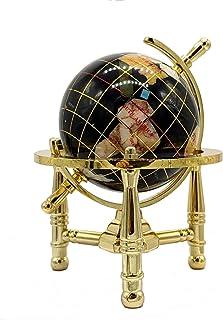 لوحة فنية فريدة من نوعها 15.24 سم من بلاك أونيكس أوشن ميني للطاولة من الأحجار الكريمة العالم الكرة الأرضية مع حامل ذهبي ثلاثي