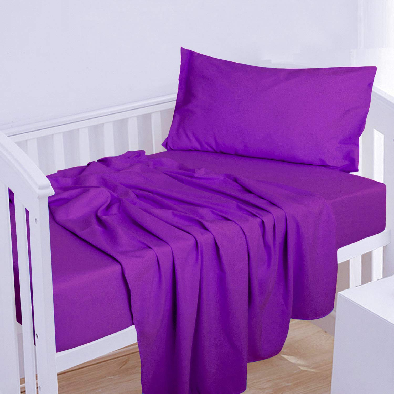 NTBAY Complete Free Shipping 3-Piece Microfiber Toddler Sheet Crib Popular product Fitted Solid Sh Set