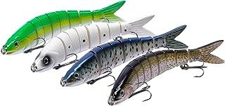 Bassdash Swimbaits Segmented Minnow Herring Bait Hard Lure 3.9in/5in for Bass Catfish Salmon Walleye Muskie Fishing, One Piece / 3-Pack / 4-Pack