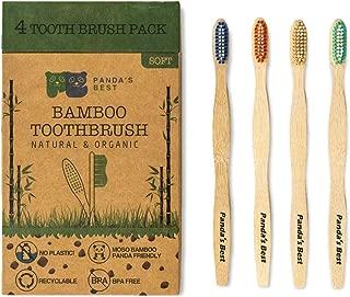 Bamboo Toothbrush   Biodegradable Eco-Friendly with Medium/Soft Bristles Natural Organic and BPA-Free  4-Pack Moso Bamboo Toothbrush for Adults and Kids (4-Pack Soft Bristles)