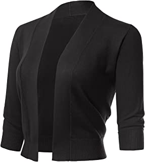 ARC Studio Women's Classic 3/4 Sleeve Open Front Cropped...