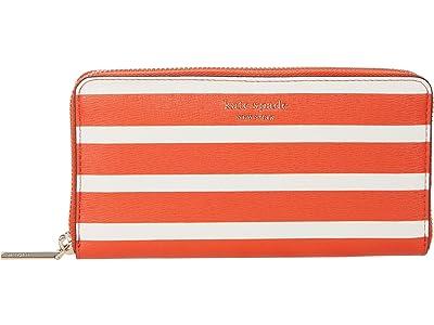 Kate Spade New York Spencer Stripe Zip Around Continental Wallet (Tamarillo Multi) Wallet Handbags
