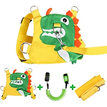 Toddlers Dinosaur Backpack with Safety Harness Leash for Boys Girls Yellow