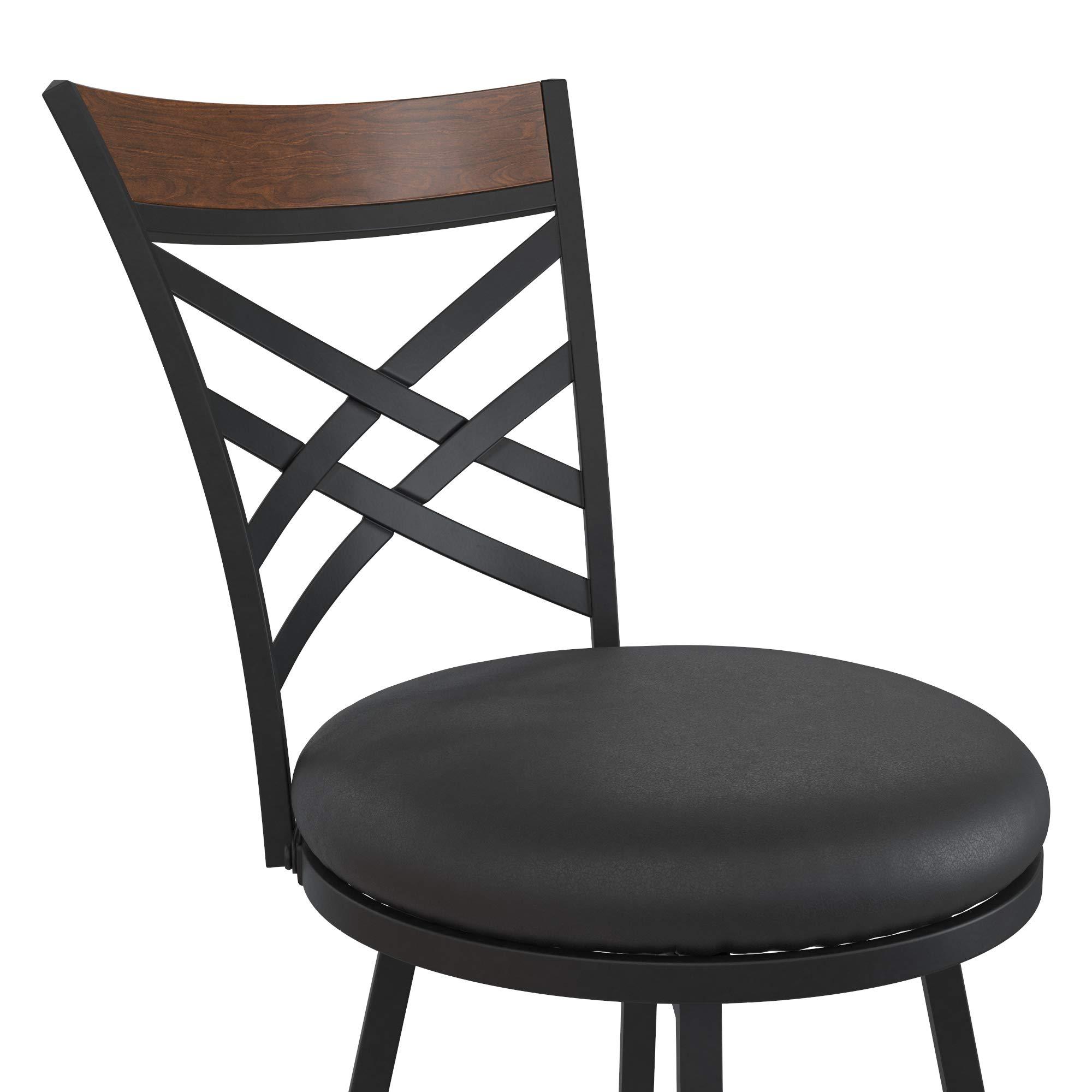 Set of 3 Barstool Tan Microfiber DHP Alfie Upholstered Seat Swivel