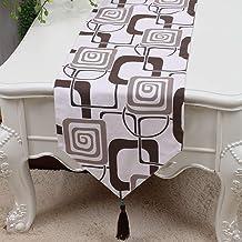 Royare Elegant Design Brown White Stripe Flower Pattern Cloth Table Runner Modern Simple Fashion Upscale Living Room Kitch...