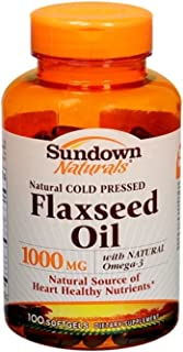 Sundown Naturals Flaxseed Oil 1000 mg Softgels 100 Soft Gels (Pack of 2)